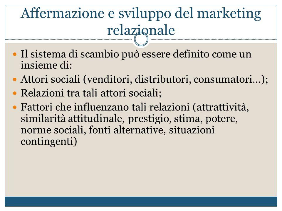 Affermazione e sviluppo del marketing relazionale Il sistema di scambio può essere definito come un insieme di: Attori sociali (venditori, distributor