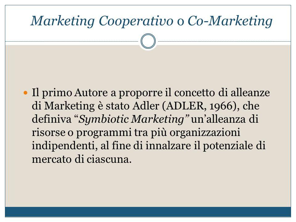 """Marketing Cooperativo o Co-Marketing Il primo Autore a proporre il concetto di alleanze di Marketing è stato Adler (ADLER, 1966), che definiva """"Symbio"""