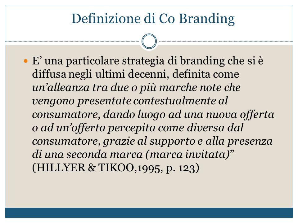 Definizione di Co Branding E' una particolare strategia di branding che si è diffusa negli ultimi decenni, definita come un'alleanza tra due o più mar