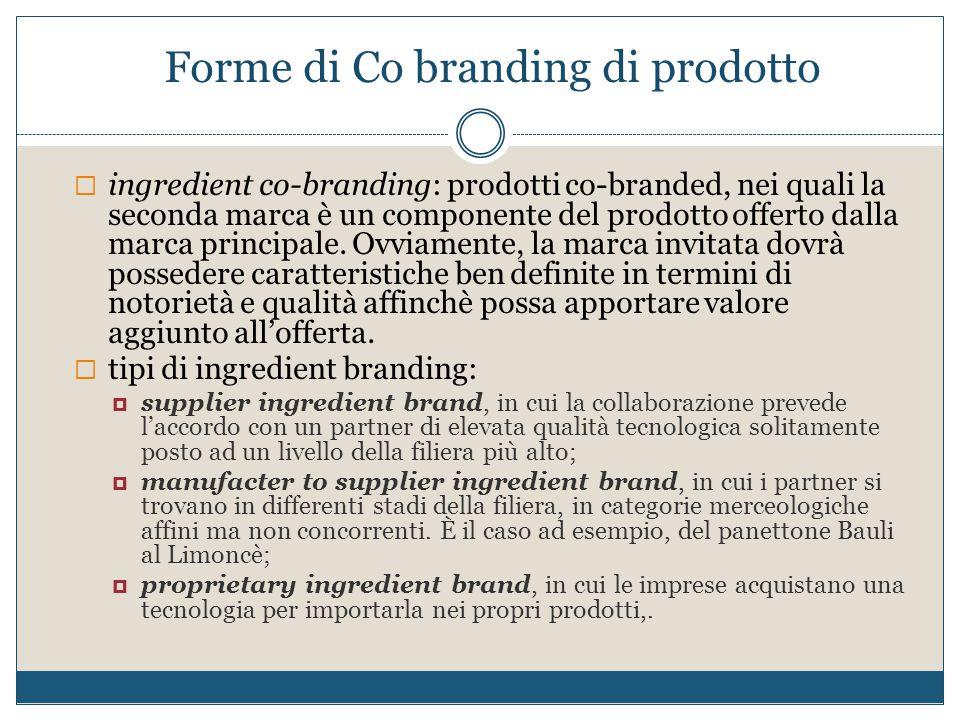 Forme di Co branding di prodotto  ingredient co-branding: prodotti co-branded, nei quali la seconda marca è un componente del prodotto offerto dalla