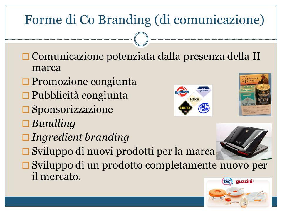 Forme di Co Branding (di comunicazione)  Comunicazione potenziata dalla presenza della II marca  Promozione congiunta  Pubblicità congiunta  Spons