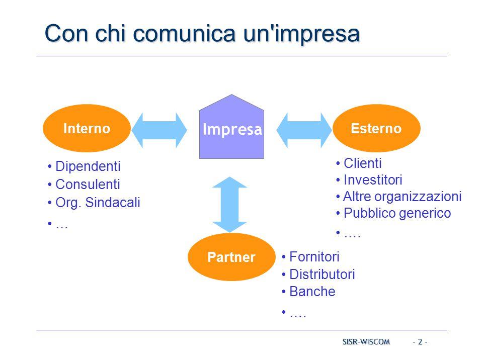 - 2 - InternoEsterno Partner Clienti Investitori Altre organizzazioni Pubblico generico ….
