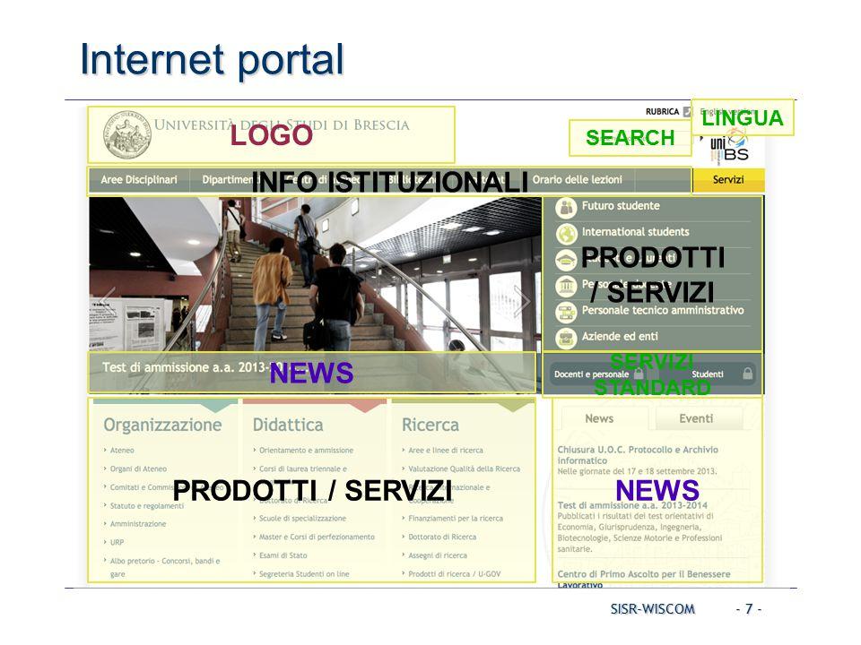 - 7 - SISR-WISCOM Internet portal LOGO NEWS LINGUA NEWS PRODOTTI / SERVIZI INFO ISTITUZIONALI SERVIZI STANDARD SEARCH PRODOTTI / SERVIZI