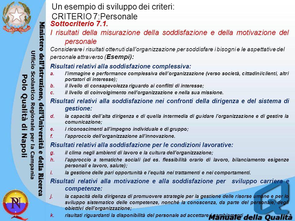 Un esempio di sviluppo dei criteri: CRITERIO 7:Personale Sottocriterio 7.1. I risultati della misurazione della soddisfazione e della motivazione del