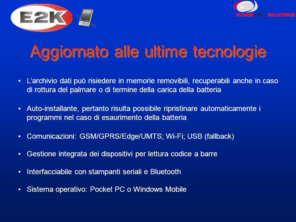 Aggiornato alle ultime tecnologie L'archivio dati può risiedere in memorie removibili, recuperabili anche in caso di rottura del palmare o di termine della carica della batteria Auto-installante, pertanto risulta possibile ripristinare automaticamente i programmi nel caso di esaurimento della batteria Comunicazioni: GSM/GPRS/Edge/UMTS; Wi-Fi; USB (fallback) Gestione integrata dei dispositivi per lettura codice a barre Interfacciabile con stampanti seriali e Bluetooth Sistema operativo: Pocket PC o Windows Mobile