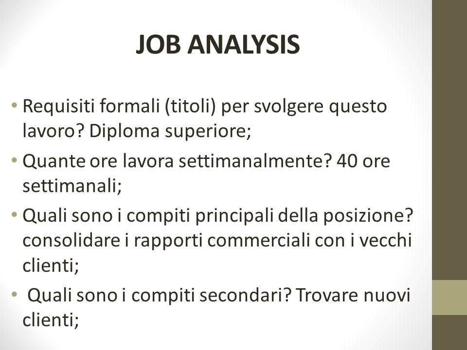 JOB ANALYSIS Requisiti formali (titoli) per svolgere questo lavoro.