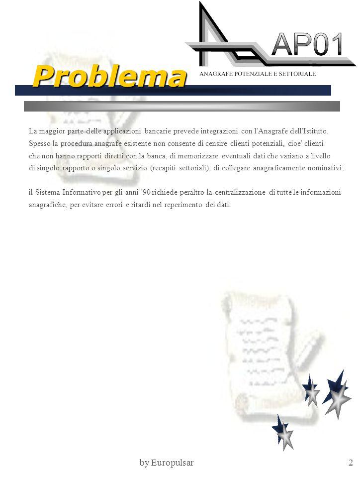 by Europulsar2 Problema La maggior parte delle applicazioni bancarie prevede integrazioni con l Anagrafe dell Istituto.