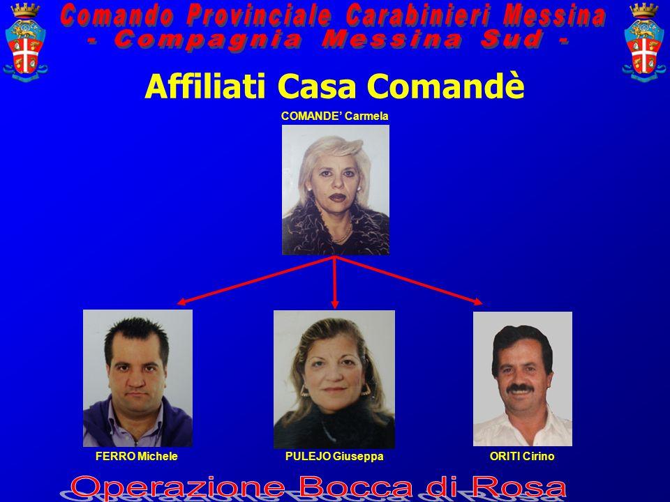 Affiliati Casa Comandè COMANDE' Carmela FERRO MichelePULEJO GiuseppaORITI Cirino