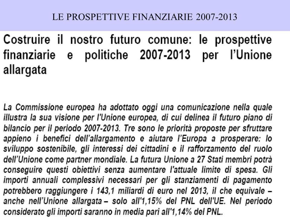 LE PROSPETTIVE FINANZIARIE 2007-2013