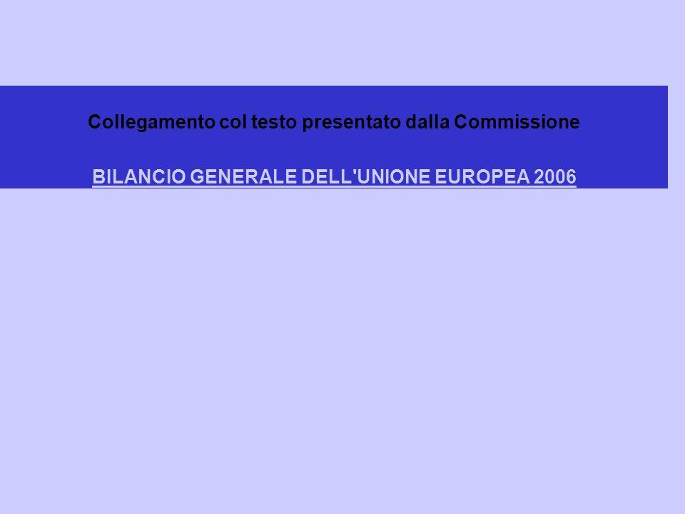 Collegamento col testo presentato dalla Commissione BILANCIO GENERALE DELL UNIONE EUROPEA 2006 BILANCIO GENERALE DELL UNIONE EUROPEA 2006