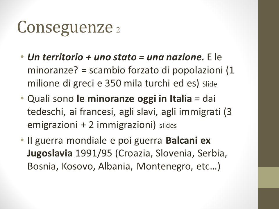Conseguenze 2 Un territorio + uno stato = una nazione. E le minoranze? = scambio forzato di popolazioni (1 milione di greci e 350 mila turchi ed es) S