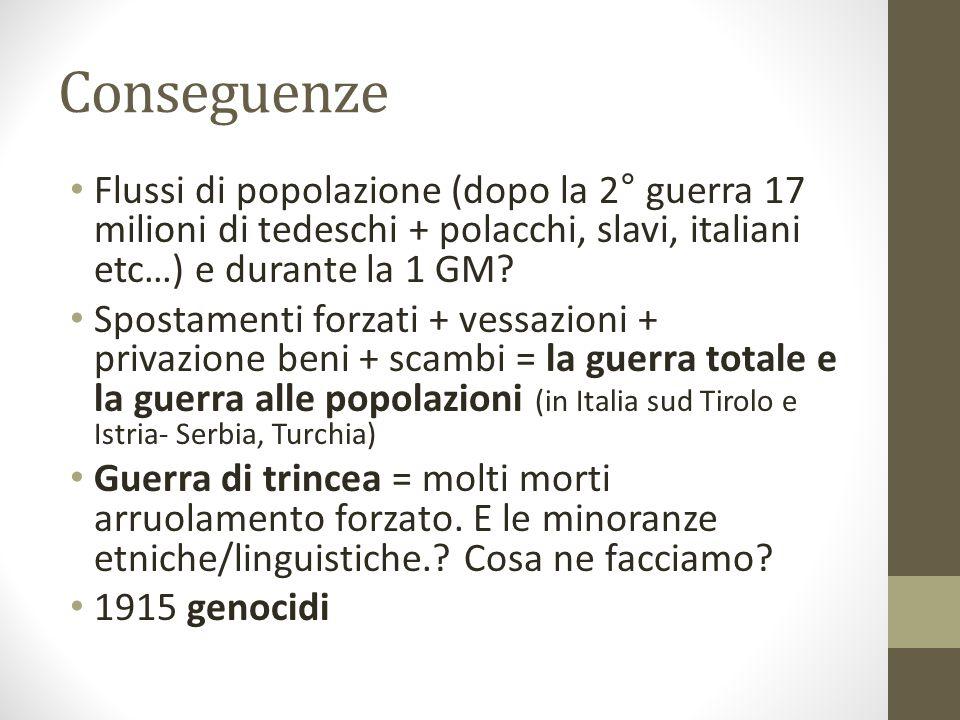 Conseguenze Flussi di popolazione (dopo la 2° guerra 17 milioni di tedeschi + polacchi, slavi, italiani etc…) e durante la 1 GM? Spostamenti forzati +