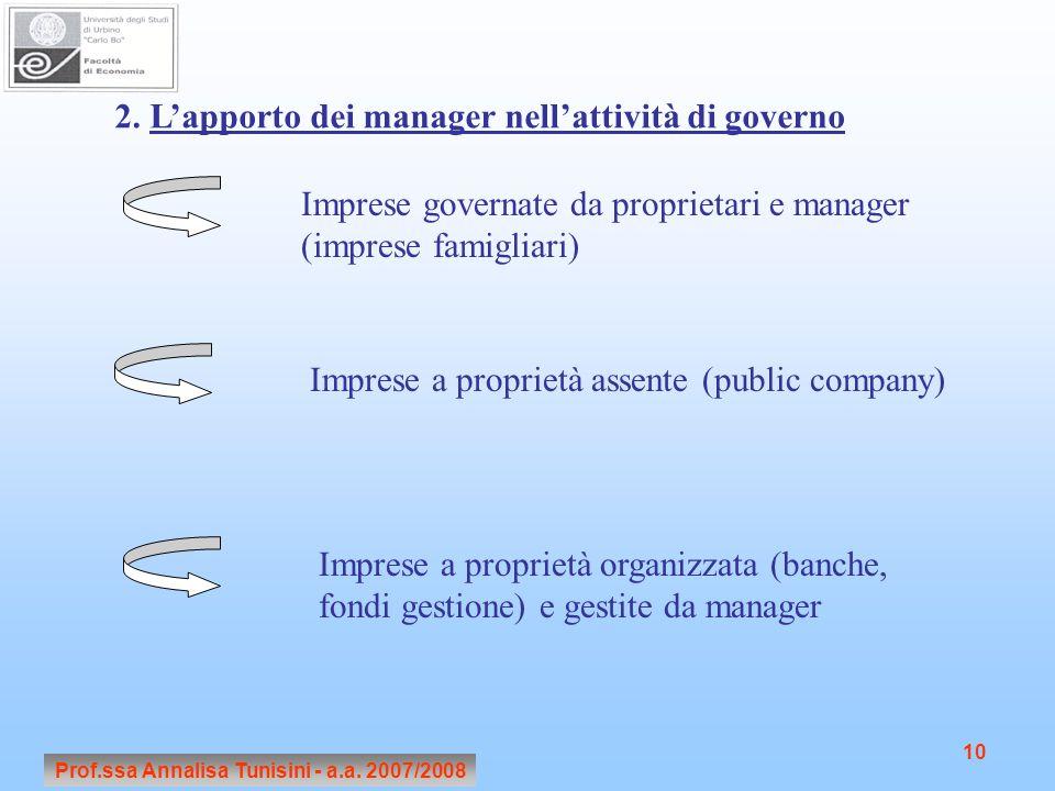 Prof.ssa Annalisa Tunisini - a.a. 2007/2008 10 2. L'apporto dei manager nell'attività di governo Imprese governate da proprietari e manager (imprese f