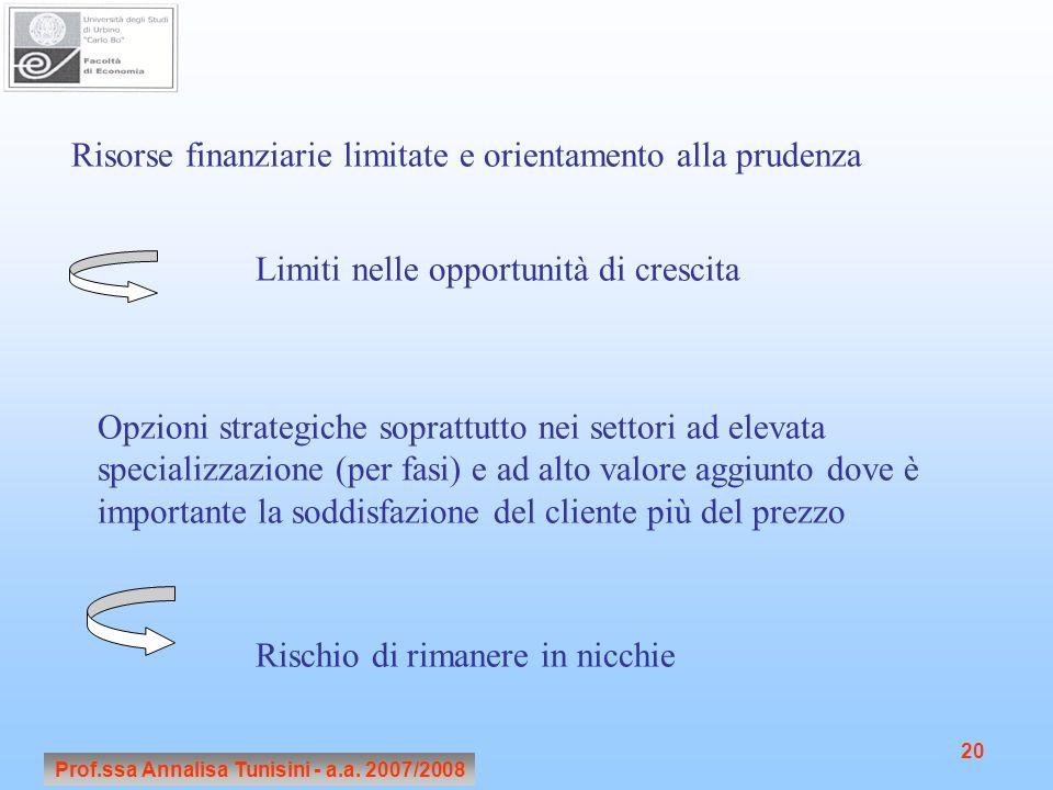 Prof.ssa Annalisa Tunisini - a.a. 2007/2008 20 Risorse finanziarie limitate e orientamento alla prudenza Limiti nelle opportunità di crescita Opzioni