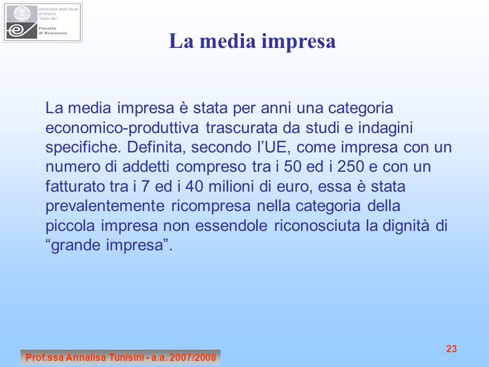 Prof.ssa Annalisa Tunisini - a.a. 2007/2008 23 La media impresa è stata per anni una categoria economico-produttiva trascurata da studi e indagini spe