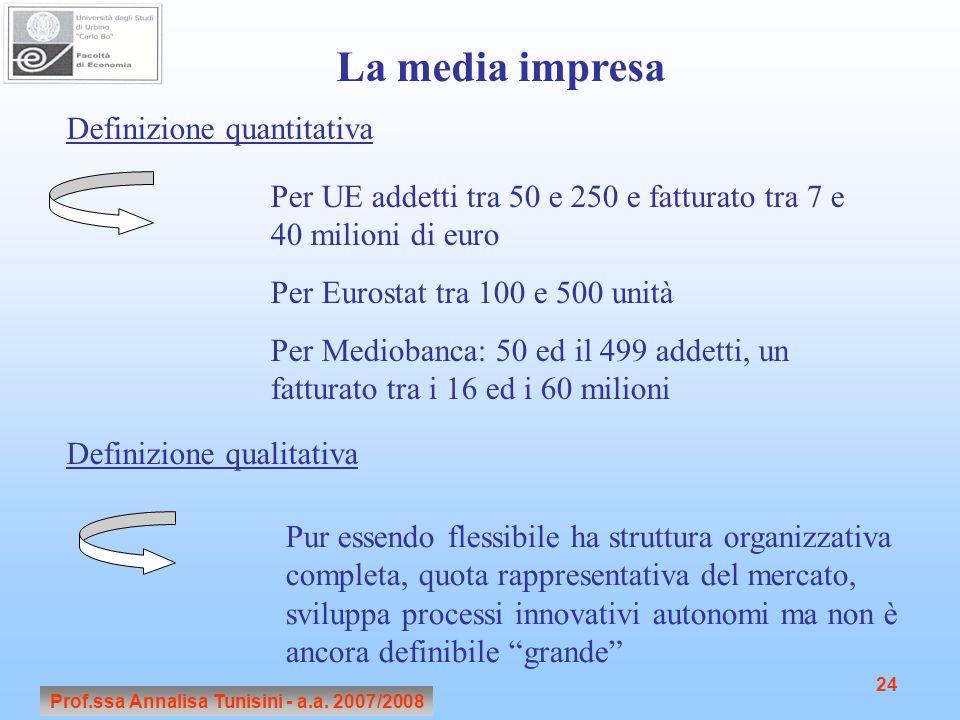 Prof.ssa Annalisa Tunisini - a.a. 2007/2008 24 La media impresa Definizione quantitativa Per UE addetti tra 50 e 250 e fatturato tra 7 e 40 milioni di