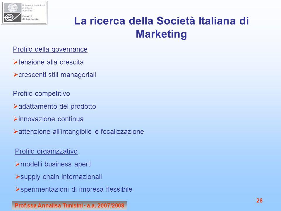 Prof.ssa Annalisa Tunisini - a.a. 2007/2008 28 La ricerca della Società Italiana di Marketing Profilo della governance  tensione alla crescita  cres