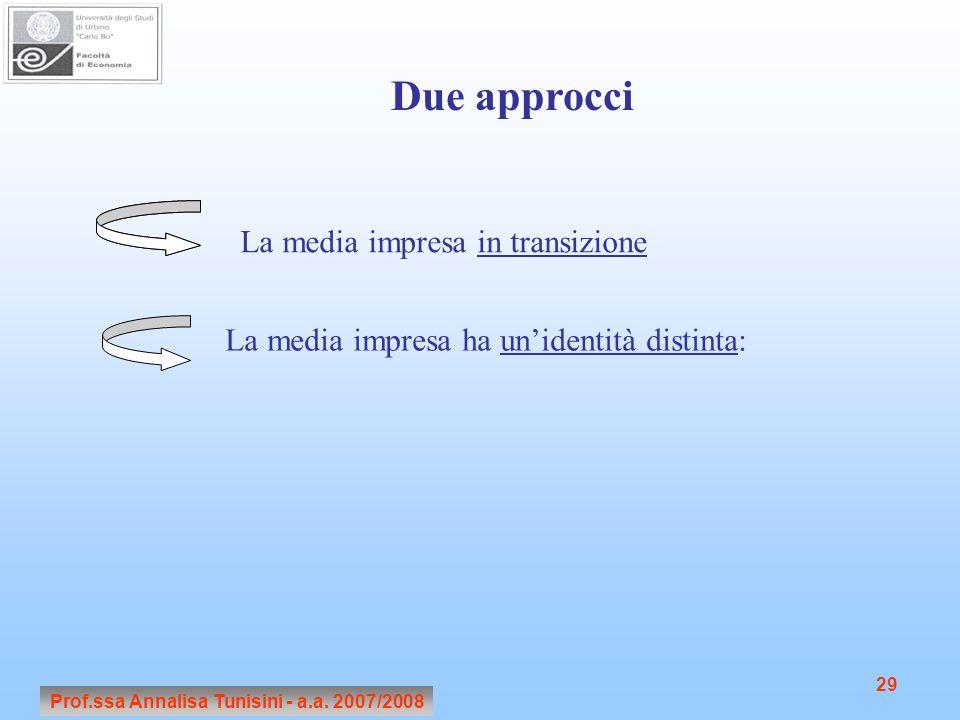 Prof.ssa Annalisa Tunisini - a.a. 2007/2008 29 Due approcci La media impresa in transizione La media impresa ha un'identità distinta: