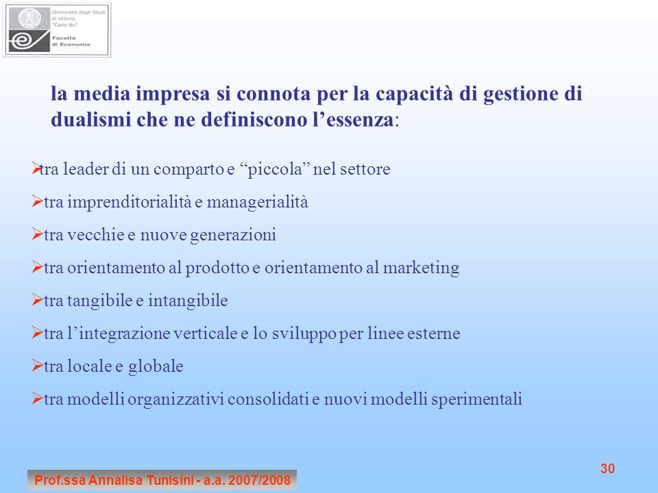 Prof.ssa Annalisa Tunisini - a.a. 2007/2008 30 la media impresa si connota per la capacità di gestione di dualismi che ne definiscono l'essenza:  tra
