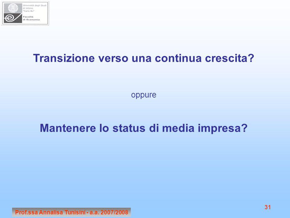 Prof.ssa Annalisa Tunisini - a.a. 2007/2008 31 Transizione verso una continua crescita? oppure Mantenere lo status di media impresa?