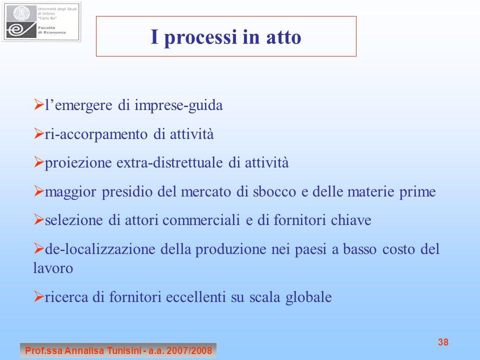 Prof.ssa Annalisa Tunisini - a.a. 2007/2008 38 I processi in atto  l'emergere di imprese-guida  ri-accorpamento di attività  proiezione extra-distr