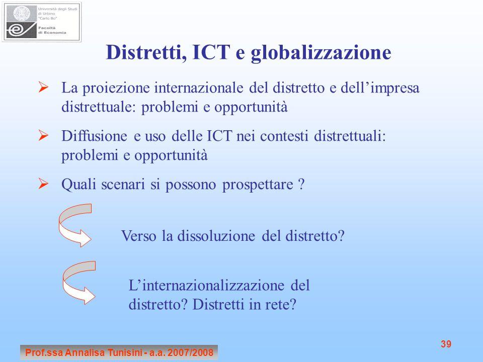 Prof.ssa Annalisa Tunisini - a.a. 2007/2008 39 Distretti, ICT e globalizzazione  La proiezione internazionale del distretto e dell'impresa distrettua