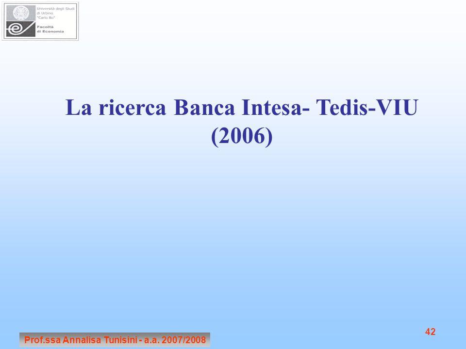 Prof.ssa Annalisa Tunisini - a.a. 2007/2008 42 La ricerca Banca Intesa- Tedis-VIU (2006)