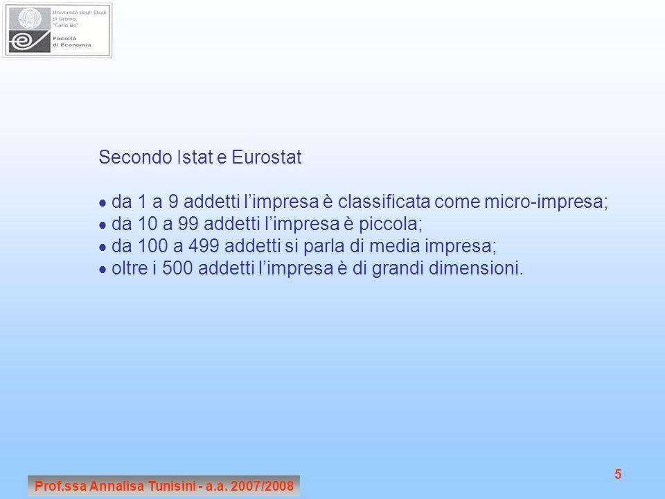 Prof.ssa Annalisa Tunisini - a.a. 2007/2008 5 Secondo Istat e Eurostat  da 1 a 9 addetti l'impresa è classificata come micro-impresa;  da 10 a 99 ad
