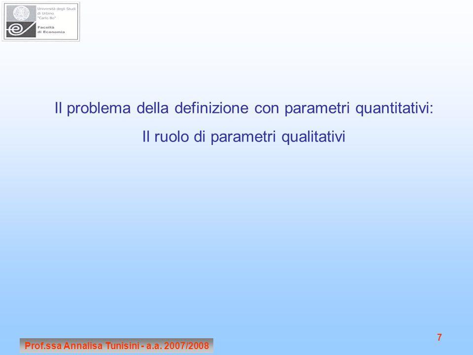 Prof.ssa Annalisa Tunisini - a.a. 2007/2008 7 Il problema della definizione con parametri quantitativi: Il ruolo di parametri qualitativi