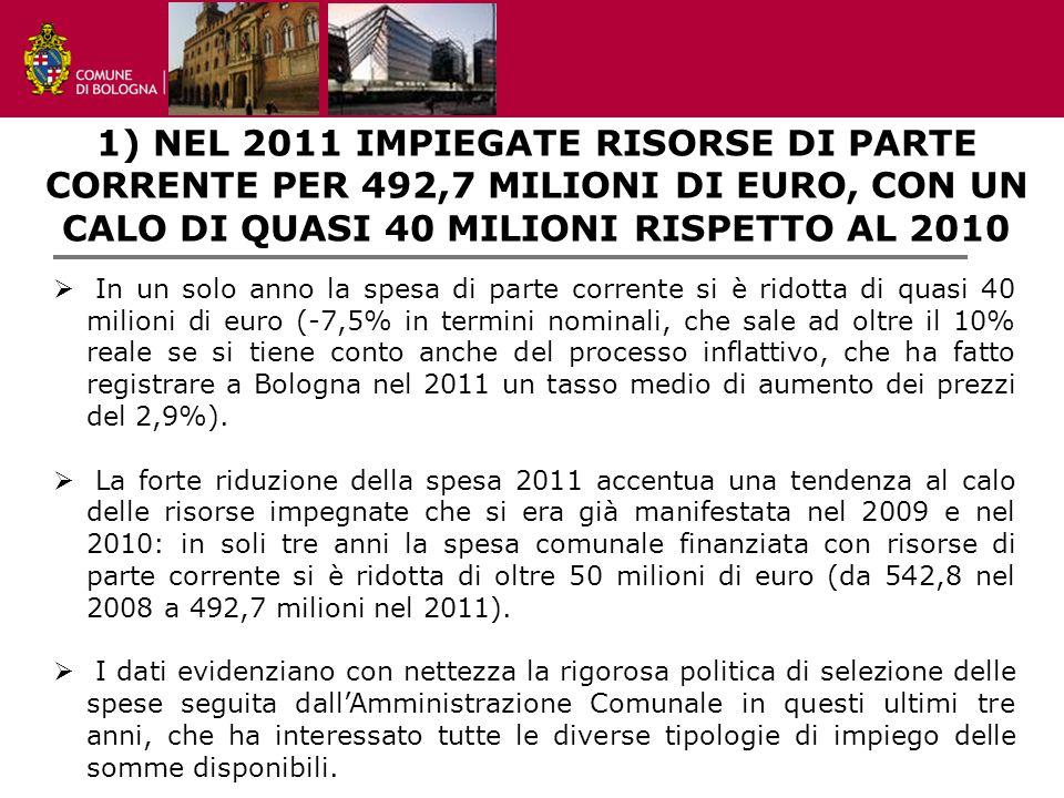 settore programmazione, controlli e statistica 1) NEL 2011 IMPIEGATE RISORSE DI PARTE CORRENTE PER 492,7 MILIONI DI EURO, CON UN CALO DI QUASI 40 MILIONI RISPETTO AL 2010  In un solo anno la spesa di parte corrente si è ridotta di quasi 40 milioni di euro (-7,5% in termini nominali, che sale ad oltre il 10% reale se si tiene conto anche del processo inflattivo, che ha fatto registrare a Bologna nel 2011 un tasso medio di aumento dei prezzi del 2,9%).