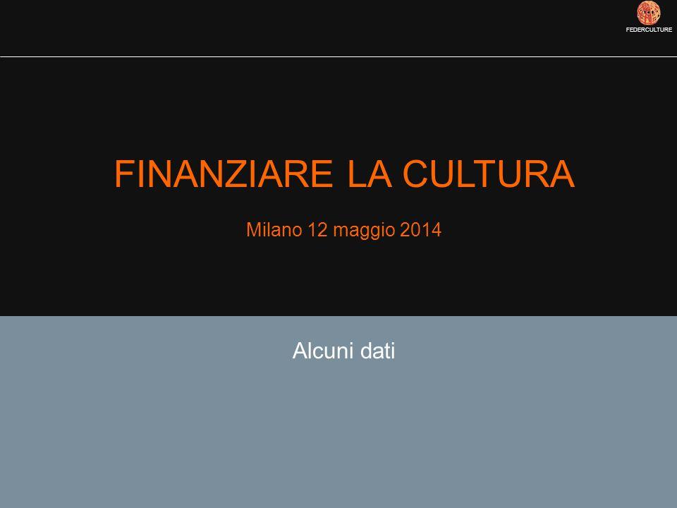FEDERCULTURE FINANZIARE LA CULTURA Milano 12 maggio 2014 Alcuni dati