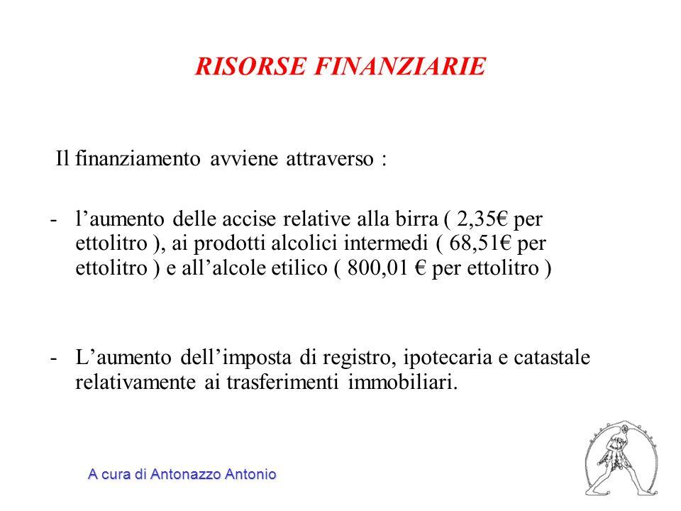 Il finanziamento avviene attraverso : -l'aumento delle accise relative alla birra ( 2,35€ per ettolitro ), ai prodotti alcolici intermedi ( 68,51€ per ettolitro ) e all'alcole etilico ( 800,01 € per ettolitro ) -L'aumento dell'imposta di registro, ipotecaria e catastale relativamente ai trasferimenti immobiliari.