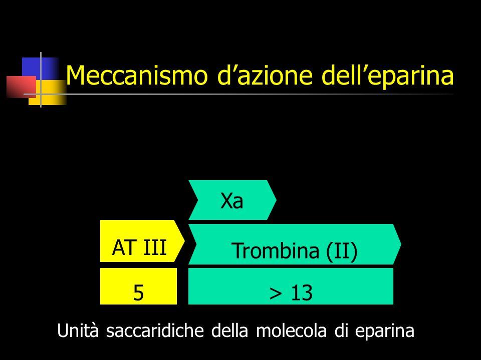 Meccanismo d'azione dell'eparina > 135 AT III Trombina (II) Unità saccaridiche della molecola di eparina Xa