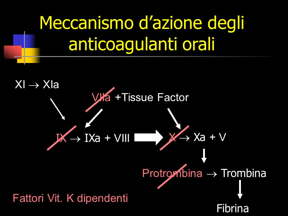 Meccanismo d'azione degli anticoagulanti orali Fibrina IX  IXa + VIII VIIa +Tissue Factor Protrombina  Trombina XI  XIa X  Xa + V Fattori Vit.