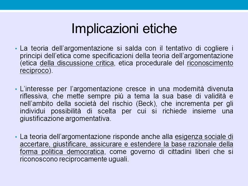 Implicazioni etiche La teoria dell'argomentazione si salda con il tentativo di cogliere i principi dell'etica come specificazioni della teoria dell'ar