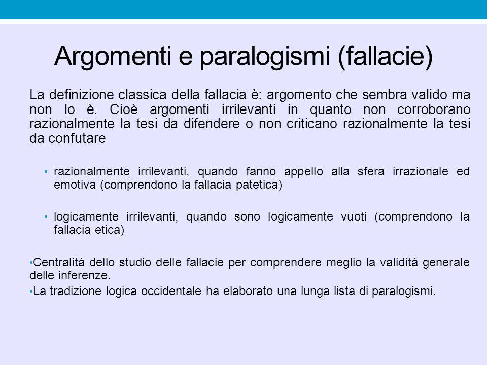 Argomenti e paralogismi (fallacie) La definizione classica della fallacia è: argomento che sembra valido ma non lo è. Cioè argomenti irrilevanti in qu
