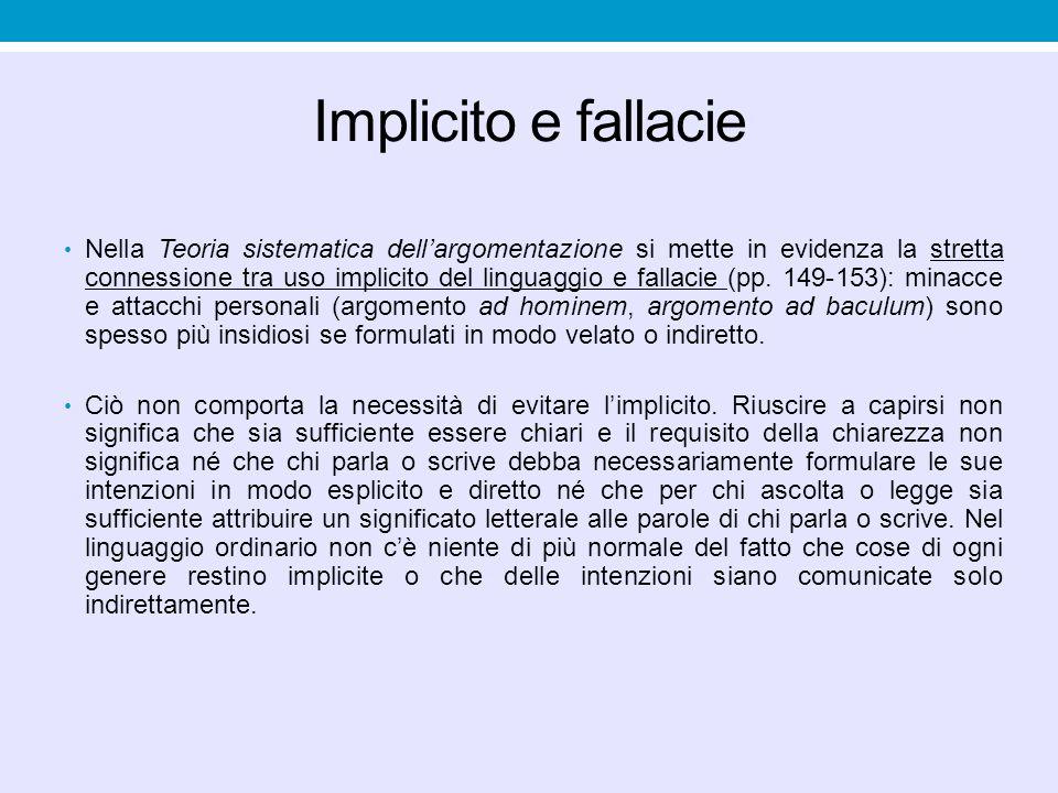 Implicito e fallacie Nella Teoria sistematica dell'argomentazione si mette in evidenza la stretta connessione tra uso implicito del linguaggio e falla