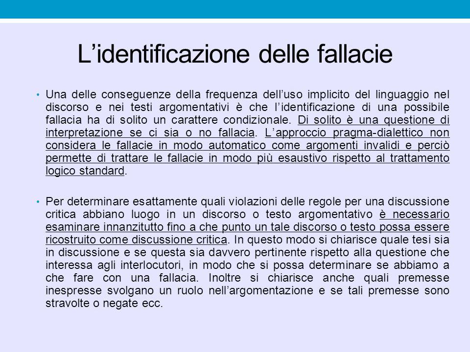 L'identificazione delle fallacie Una delle conseguenze della frequenza dell'uso implicito del linguaggio nel discorso e nei testi argomentativi è che