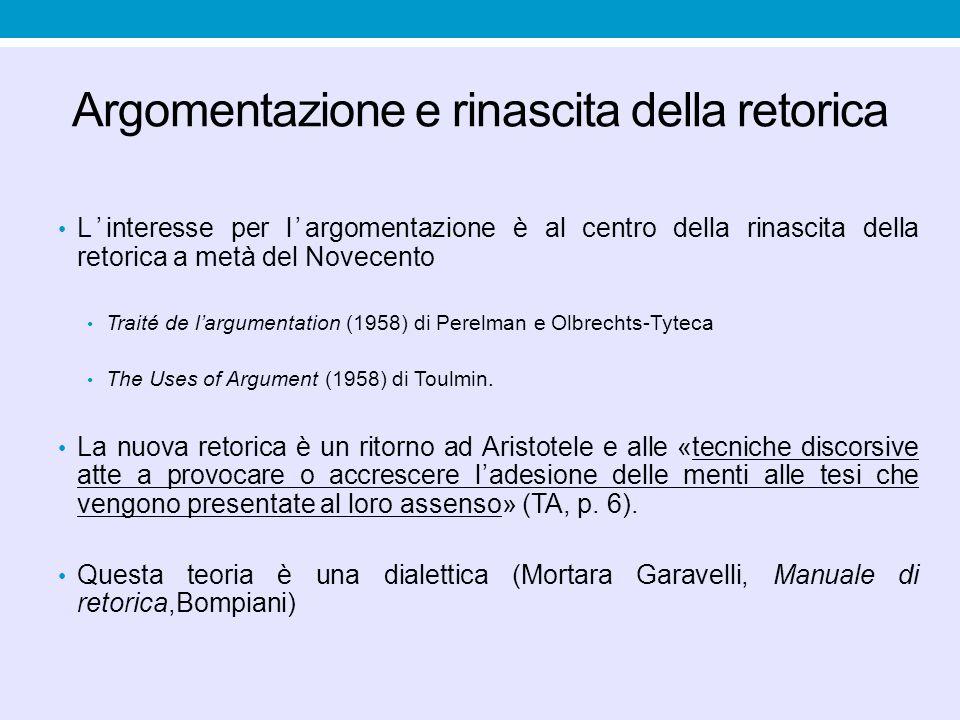 Argomentazione e rinascita della retorica L'interesse per l'argomentazione è al centro della rinascita della retorica a metà del Novecento Traité de l