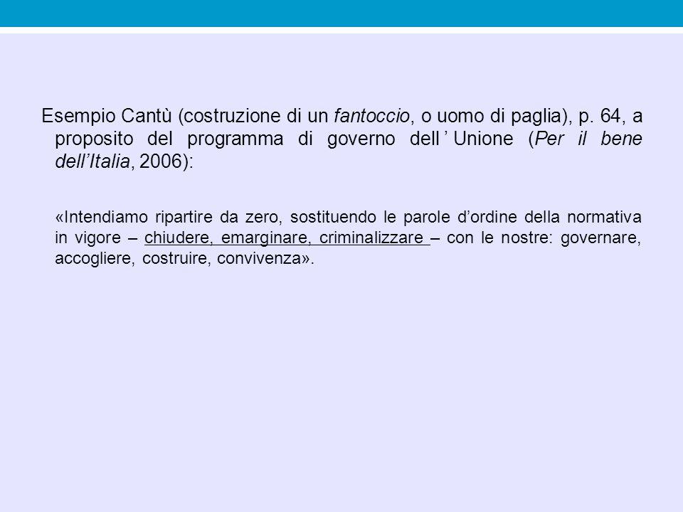 Esempio Cantù (costruzione di un fantoccio, o uomo di paglia), p. 64, a proposito del programma di governo dell'Unione (Per il bene dell'Italia, 2006)