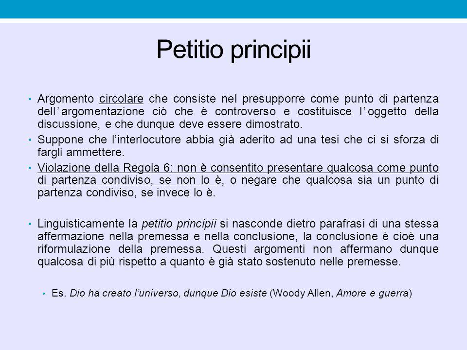 Petitio principii Argomento circolare che consiste nel presupporre come punto di partenza dell'argomentazione ciò che è controverso e costituisce l'og