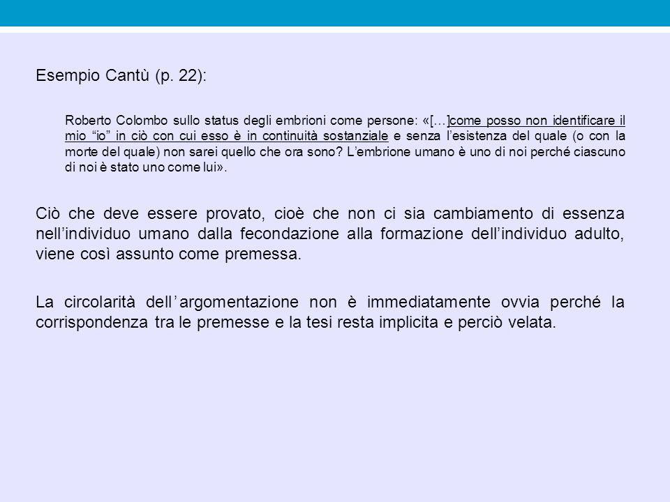 """Esempio Cantù (p. 22): Roberto Colombo sullo status degli embrioni come persone: «[…]come posso non identificare il mio """"io"""" in ciò con cui esso è in"""