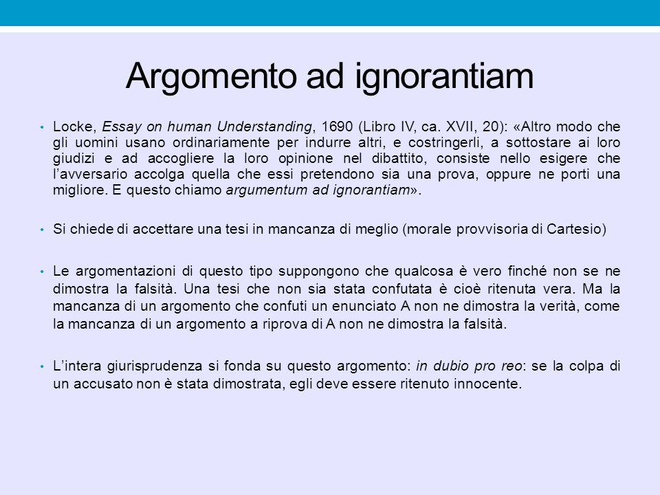 Argomento ad ignorantiam Locke, Essay on human Understanding, 1690 (Libro IV, ca. XVII, 20): «Altro modo che gli uomini usano ordinariamente per indur