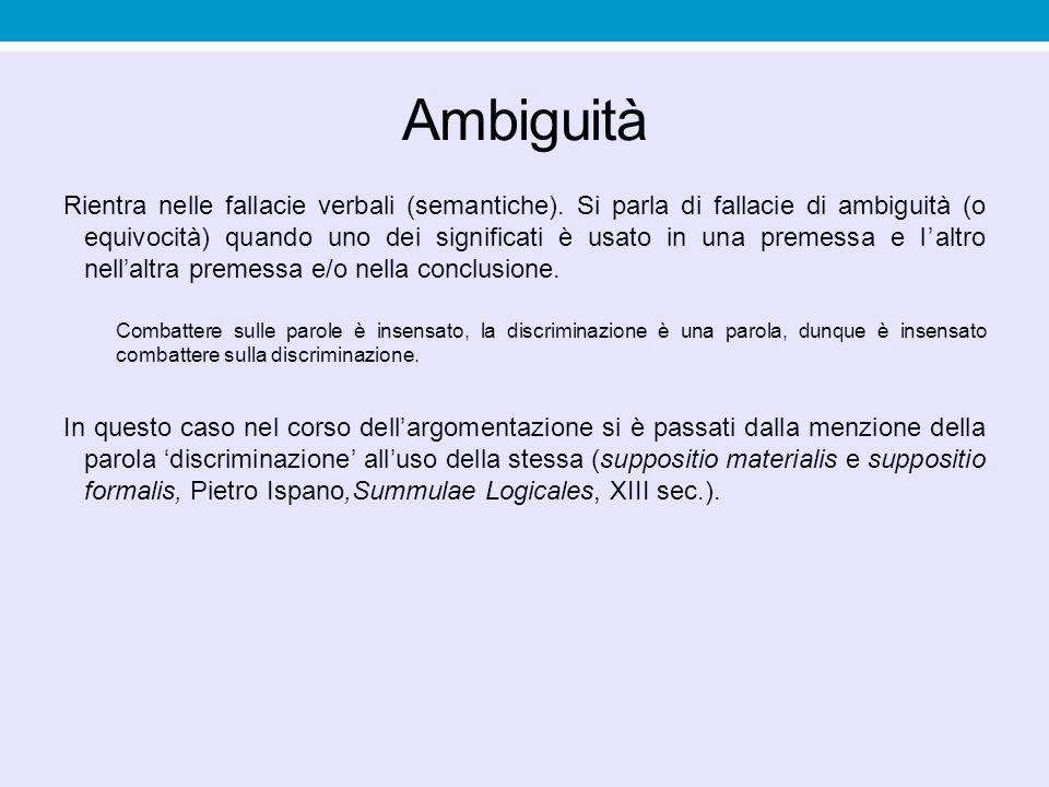 Ambiguità Rientra nelle fallacie verbali (semantiche). Si parla di fallacie di ambiguità (o equivocità) quando uno dei significati è usato in una prem