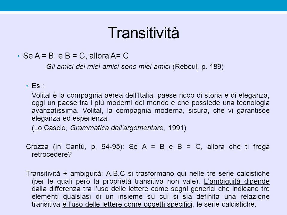 Transitività Se A = B e B = C, allora A= C Gli amici dei miei amici sono miei amici (Reboul, p. 189) Es.: Volital è la compagnia aerea dell'Italia, pa