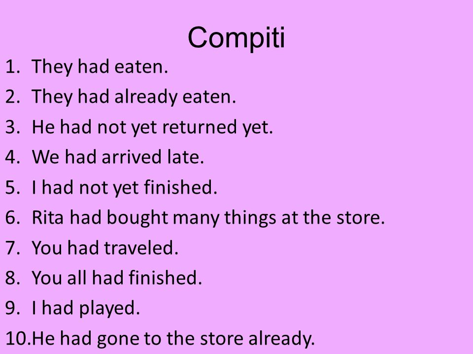 Compiti 1.They had eaten. 2.They had already eaten.