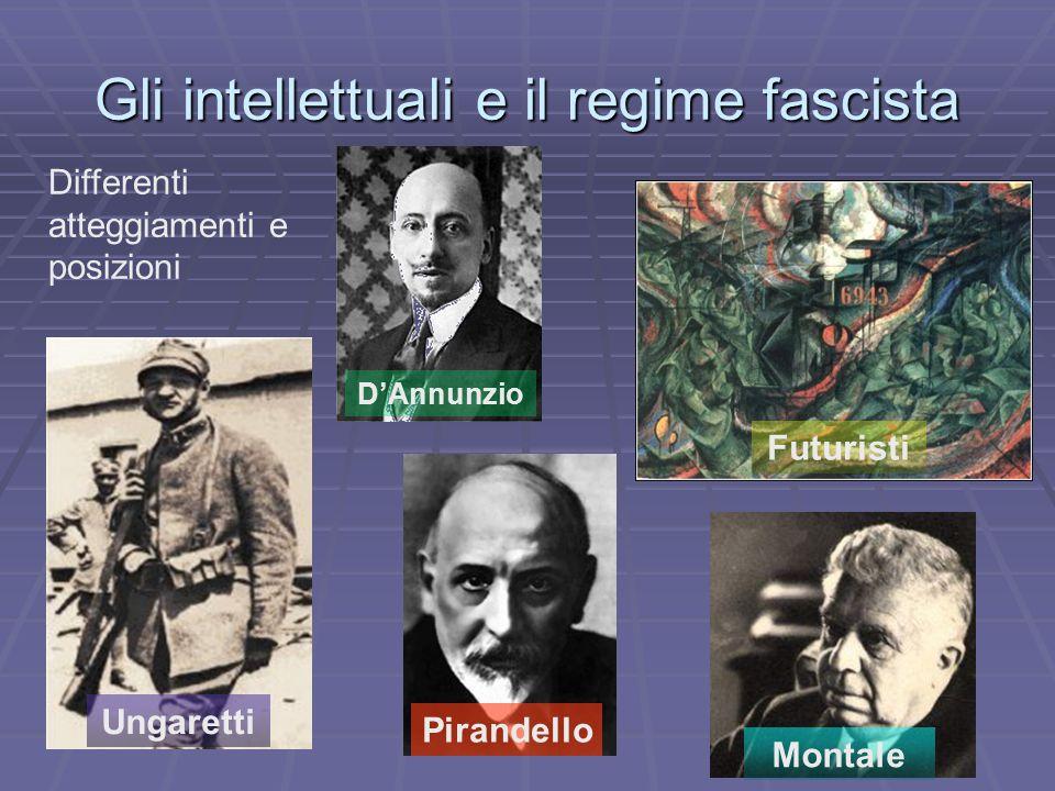 Gli intellettuali e il regime fascista D'Annunzio Ungaretti Futuristi Pirandello Montale Differenti atteggiamenti e posizioni
