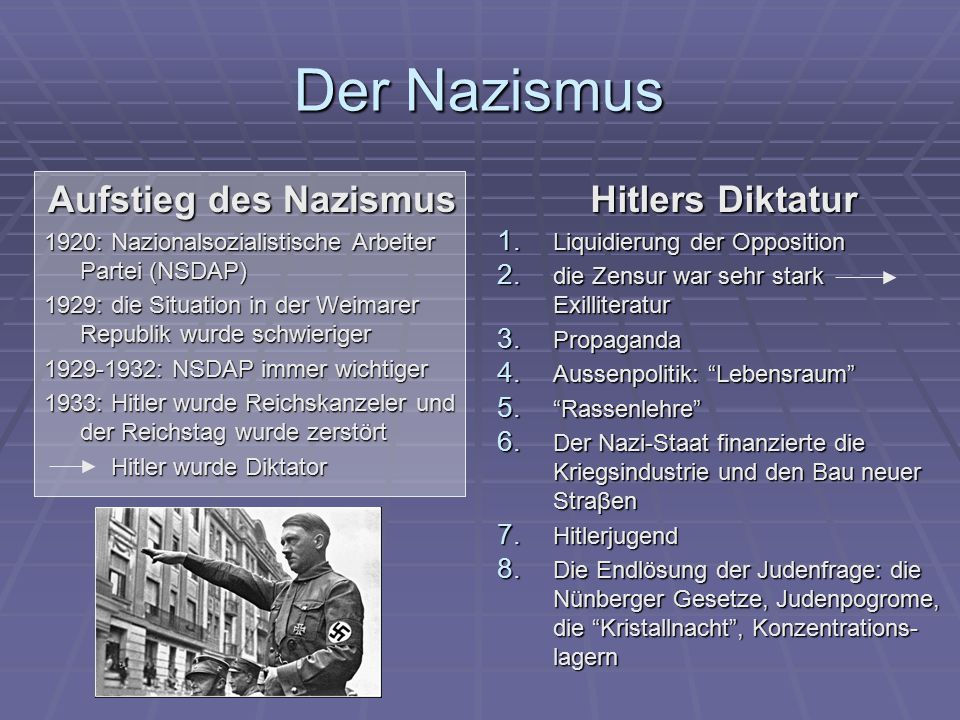 Der Nazismus Aufstieg des Nazismus 1920: Nazionalsozialistische Arbeiter Partei (NSDAP) 1929: die Situation in der Weimarer Republik wurde schwieriger 1929-1932: NSDAP immer wichtiger 1933: Hitler wurde Reichskanzeler und der Reichstag wurde zerstört Hitler wurde Diktator Hitler wurde Diktator Hitlers Diktatur 1.