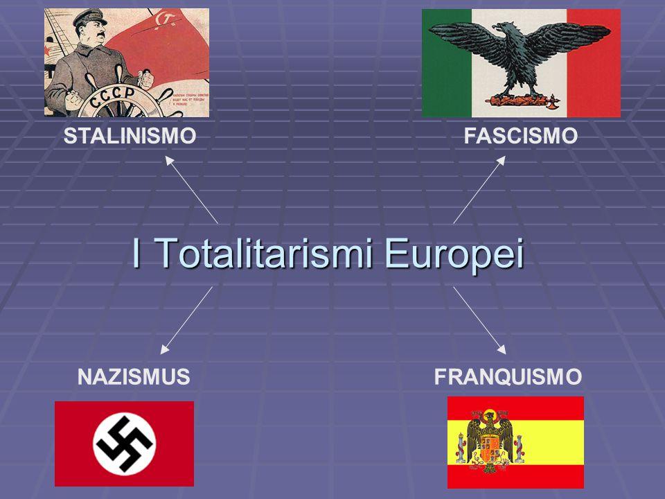I Totalitarismi Europei STALINISMOFASCISMO NAZISMUSFRANQUISMO