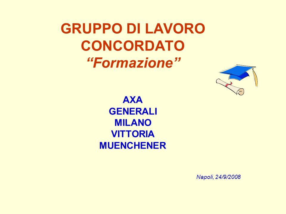 GRUPPO DI LAVORO CONCORDATO Formazione AXA GENERALI MILANO VITTORIA MUENCHENER Napoli, 24/9/2008